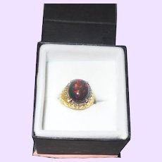 Estate Black Opal Ring With Rough Cut Diamonds