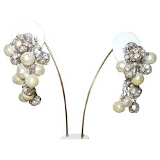 Vintage Clip Back Faux Pearl and Rhinestone Dangles