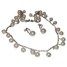 Vintage Faux Pearl Rhinestone Dangle Necklace with Earrings