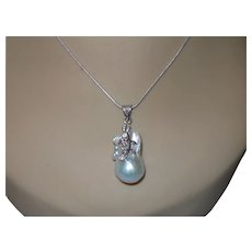 Cultured Baroque Pearl Pendant in Sterling Silver With Chain