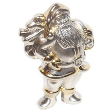 Vintage Sterling/Gold Wash Christmas Santa Brooch