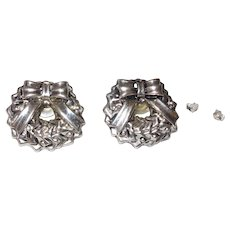 Sterling Silver Christmas Wreath Stud Earrings