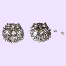 Sterling Silver Christmas Wreath Stud Earrings