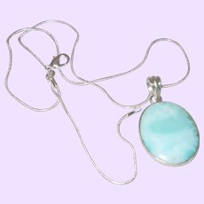 Oval Larimar  Pendant with Sterling Silver Chain