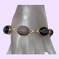 Black Druzy Quartz Bracelet in Silver Plate