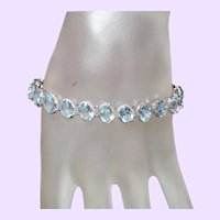 Estate Swiss Blue Topaz  Tennis Bracelet in Silver