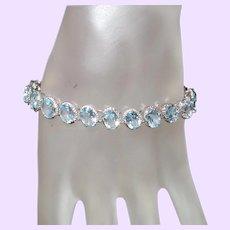 Estate Swiss Blue Topaz  Tennis Bracelet in Silver