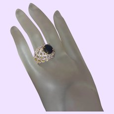 Vintage Faux Sapphire Ring in Gold Plate Setting