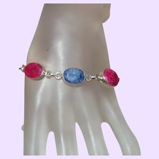 Ethnic Ruby and Sapphire Bracelet in Silver