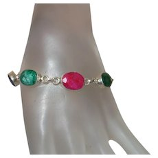 Ethnic Ruby, Sapphire and Emerald Bracelet