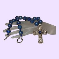 Clearance - Lapis Lazuli Necklace With Bali Silver and Silver Cross