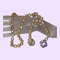Faux Pearl and Rhinestone Rondels Lariat
