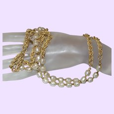 Miriam Haskell Faux Baroque Pearl Necklace