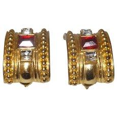 Vintage Large Curved Gold Tone Metal Earrings