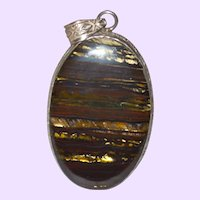 Iron Tiger Eye  Pendant with Sterling Chain