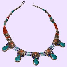 Vintage Nepal Necklace, Tibetan Silver, Lapis, Turquoise and Coral