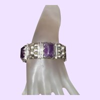 Signed Amethyst And Silver Linked Bracelet