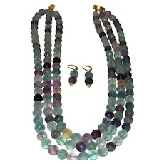 Glowing Multi-Color Fluorite Triple Strand Necklace