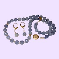 Hand Knotted Single Strand Tanzanite Necklace with 14K Gold Beads