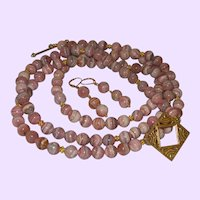 Fifty Inch Rhodochrosite Necklace with 14K Gold Filled Beads and Vermeil Clasp