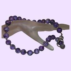 Purple Charoite and Black Diamond Necklace
