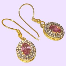 Oval Pink Tourmaline Dangle Earrings with Natural Diamonds
