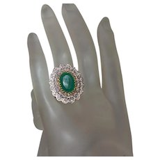Estate Faux Emerald and Crystal Ring