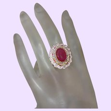 Estate Faux Ruby and Crystal Ring