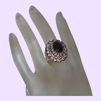 Estate Faux Sapphire and Crystal Ring