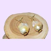 Baroque Pearl Earrings with 14KYG Vermeil Lever Backs