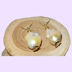 Baroque Pearl Earrings with 14KYG Vermeil Lever Backs