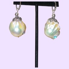 Baroque Pearl Earrings With Sterling Lever Backs