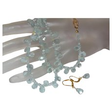Blue Topaz Briolette Necklace with 14K Gold Filled Clasp