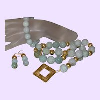 Burmese Carved Jade Necklace with Bracelet and Earrings