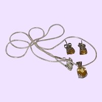 Citrine Pendant and Earrings with Sterling Chain