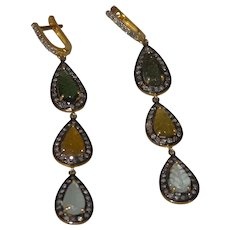 Tourmaline and Natural Diamond Dangle Earring