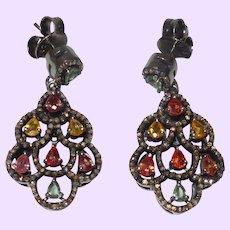 Sapphire Dangle Stud Earrings In Oxide Silver