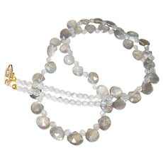 Labradorite Briolette Necklace with 14 Karat Gold Filled Clasp