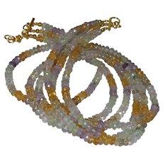 Triple Strand Multi Colored Quartz Necklace