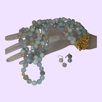 Triple Strand of Amazonite With Gold Plate Beads