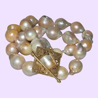 Single Strand Necklace of Large Baroque Pearls