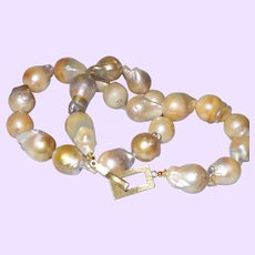 Baroque Pearl Necklace With Vermeil Clasp