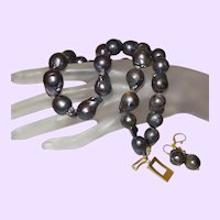 Baroque Peacock Grey Cultured Pearl Necklace