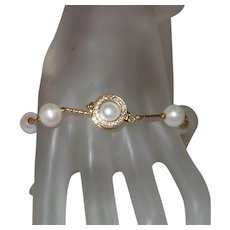 Cultured Pearl Bracelet with 14K Gold Filled Rhinestone Clasp