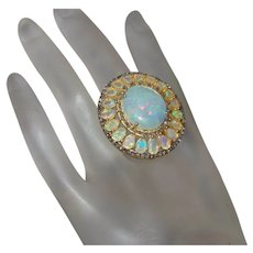 Large Ethiopian Opal and Diamond Ring in 24K Vermeil