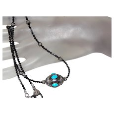 Persian Turquoise Pendant With Black Diamonds and Black Spinel