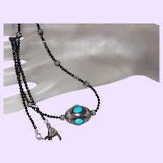 Sleeping Beauty Turquoise Pendant With Black Diamonds and Black Spinel