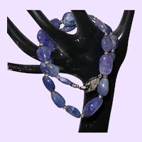 Genuine Natural Deep Blue Purple Tanzanite Nugget and Black Diamond Necklace