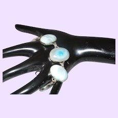 Sterling Silver Sky Blue Larimar Link Bracelet