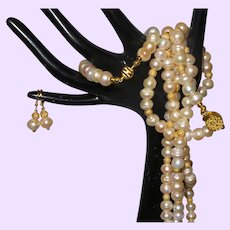 Cultured Pearl 60 Inch Necklace with Bracelet and Earrings